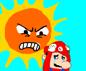 Angry sun from SMB3 won't cut Mario a break