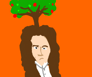 Isaac Newton (with his tree on his head)