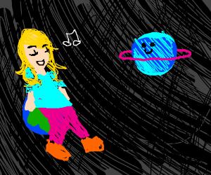 Woman sitting on Earth, serenading Saturn.