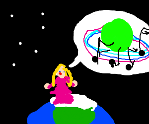 Lady in a pink dress sings about saturn