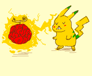 Green-striped pikachu tries to magic a fruit
