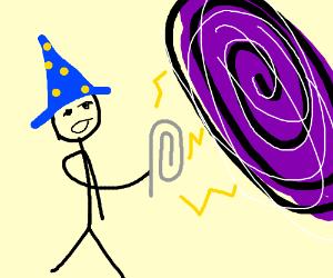 Stickman mistakes paperclip for blackhole