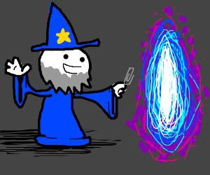 Wizard tries to close a vortex with paperclip