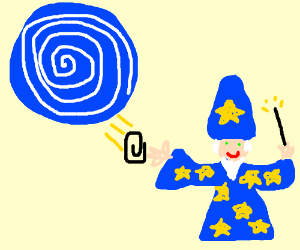 Wizard happily puts paperclip in portal
