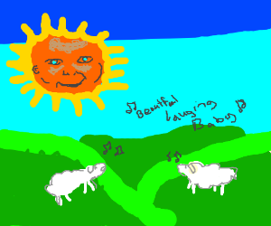 Sheep serenading the sun from Teletubbies