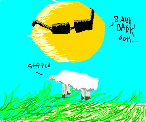 Sun with swag singing 2 sum sheep in a meadow.
