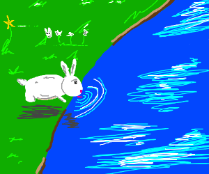Bunny drinks from a pond with a lilypad