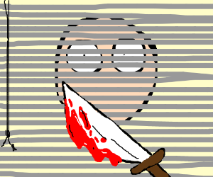 Bloody knife in front of venetian blinds
