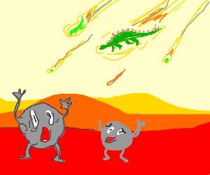 Falling dino-comet