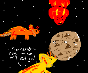 Fiery triceratopses threaten Planet Cookie