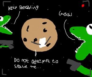 Angry space dinos hold a cookie planet hostage