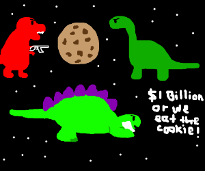 Dinos hold cookie hostage in space!