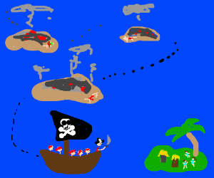murdering sea pirate sees a new land 2 destroy