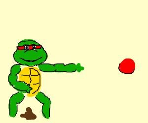 Ninja turtle with diarrhea demands the ball