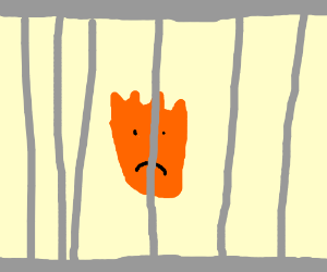 sad flame caught in cage match.