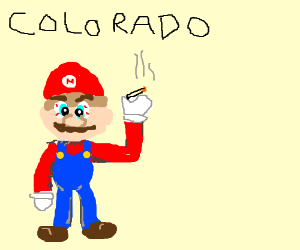 Mario smoking weed at Colorado