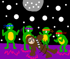 TMNT and old guy in Chewbacca costume at disco