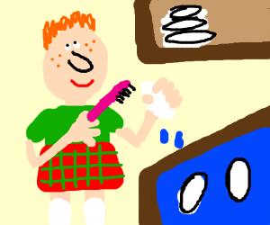 Scottish man washes dishs.