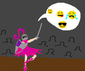 Knight Ballerina speaks in emoticons