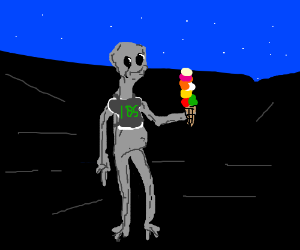 Alien 185 holds ice cream.