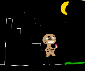 E.T. has ice-cream in the bleachers at night