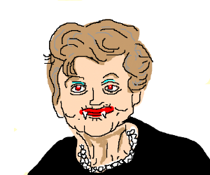 Angela Lansbury is a blood sucker wit red eyes