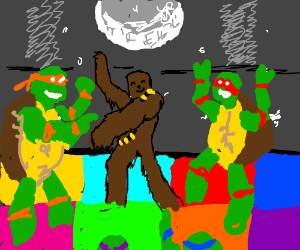 man in chewbacca suit discos with TMNTs