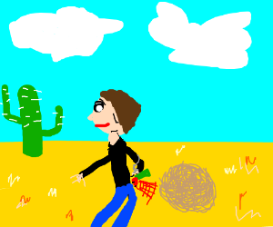 a fart In the desert with a tumble weed
