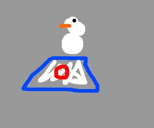 snowman jumps on a trampoline