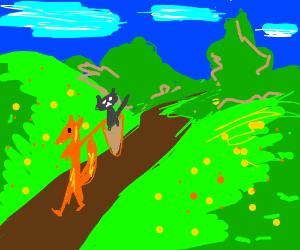 A fairy fox returning a cat from far away