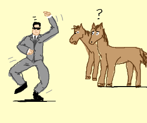 Horses stare at Psy as he dances