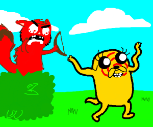 angry raccoon and jake from adventure time
