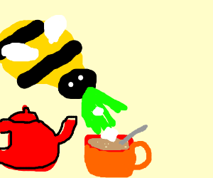 Bee vomits, Tea now sweetened.