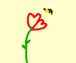 A bee and a rose, with heart shaped petals