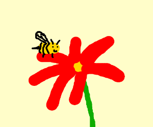 Bee sits on the petals of a red flower.