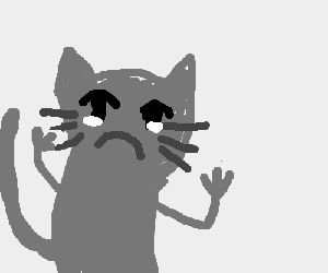 A cat with hands is crying