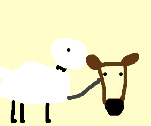 A sheep trying to pet a horse