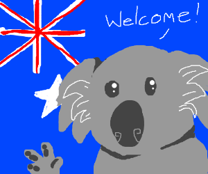 Chuck the koala bear welcomes you to Australia