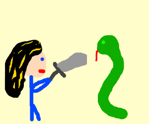 Woman with black/blond hair battles a snake.