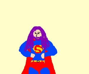 Superman with purple hair