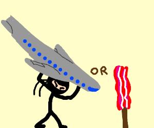 Ninja helps plane land  or  Bacon on a stick ?