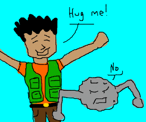 Brock wants a hug from reluctant Geodude