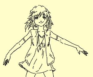 Really longed arm cute girl