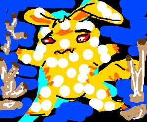 Pikachu has white pox disease :(