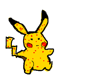 Pikachu doll with chickenpox