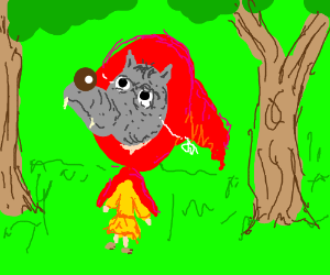 Red Riding Hood wearing a wolf mask