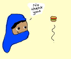 Muslim refuses to eat burger