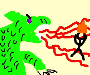 Dragon breathes fire, incinerates stick figure