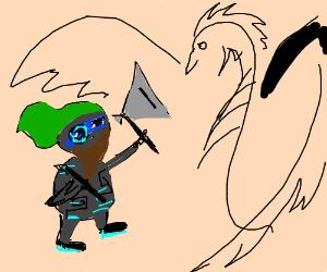 cyborg dwarf vs Black dragon
