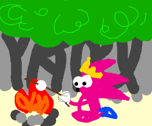 Pink Royal Sonic makes smores in the woods